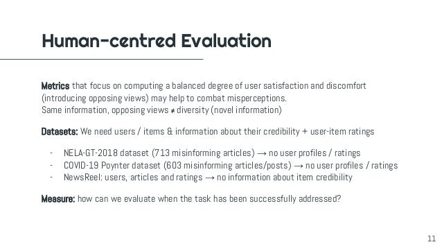Human-centred Evaluation Metrics that focus on computing a balanced degree of user satisfaction and discomfort (introducin...