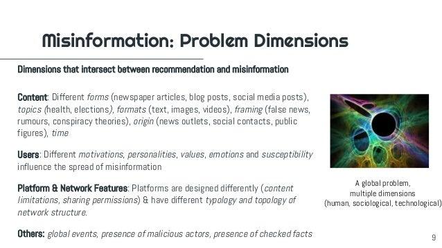 Content: Different forms (newspaper articles, blog posts, social media posts), topics (health, elections), formats (text, ...