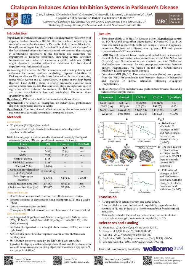 Citalopram Enhances Action Inhibition Systems in Parkinson's DiseaseZ Ye1, E Altena1, C Nombela-Otero1, C Housden1, H Maxw...