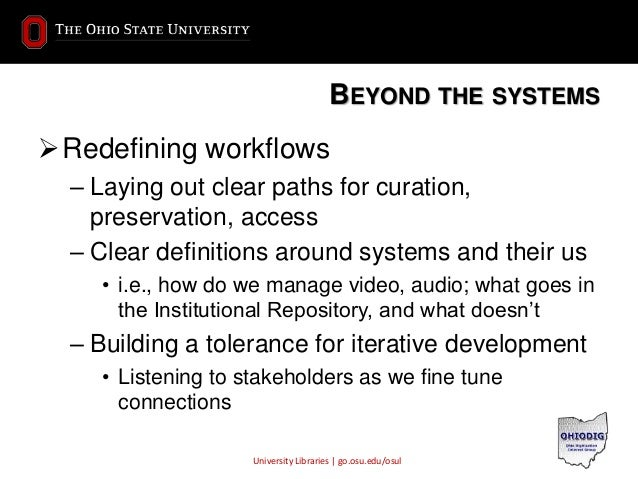 University Libraries | go.osu.edu/osul BEYOND THE SYSTEMS Redefining workflows – Laying out clear paths for curation, pre...