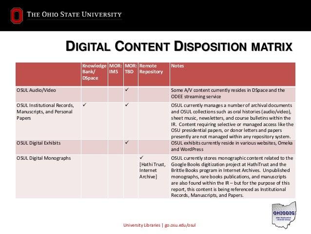 University Libraries | go.osu.edu/osul DIGITAL CONTENT DISPOSITION MATRIX Knowledge Bank/ DSpace MOR: IMS MOR: TBD Remote ...