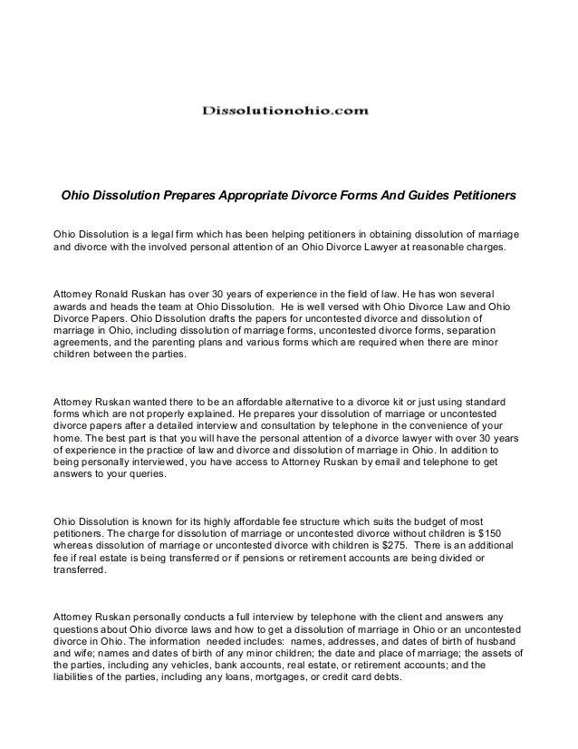 Ohio dissolution prepares appropriate divorce forms and guides petiti…