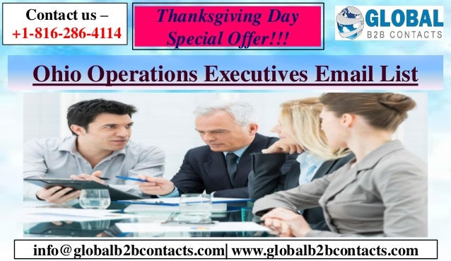 Ohio Operations Executives Email List Contact us – +1-816-286-4114 info@globalb2bcontacts.com  www.globalb2bcontacts.com T...
