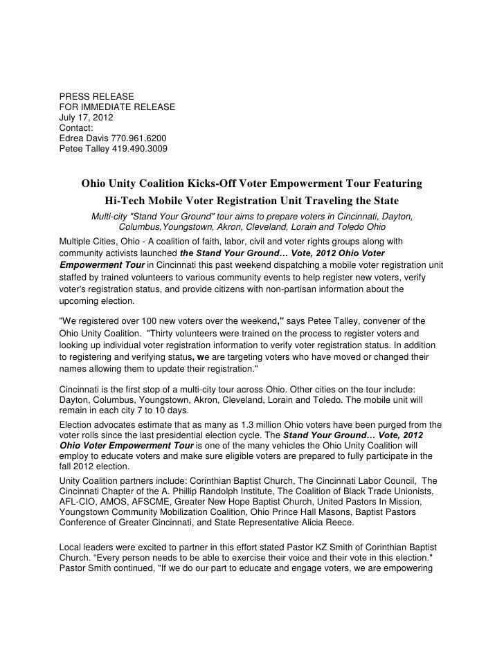 PRESS RELEASEFOR IMMEDIATE RELEASEJuly 17, 2012Contact:Edrea Davis 770.961.6200Petee Talley 419.490.3009     Ohio Unity Co...