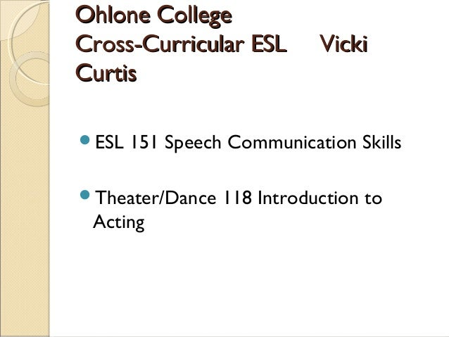 Ohlone CollegeOhlone College Cross-Curricular ESL VickiCross-Curricular ESL Vicki CurtisCurtis ESL 151 Speech Communicati...