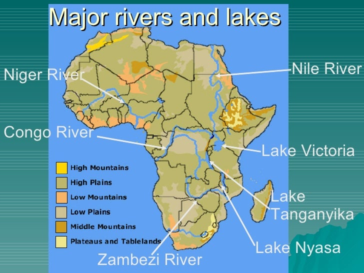 Africa Map Lakes Rivers Mountains Campinglifestyle