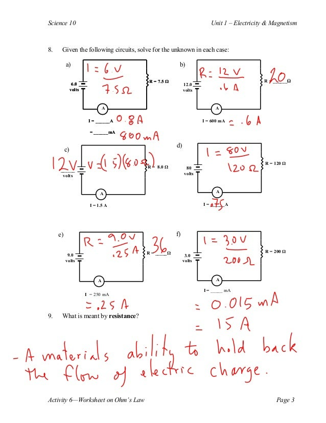 Worksheet Ohms Law Worksheet ohms laws calculations activity on law page 2 3