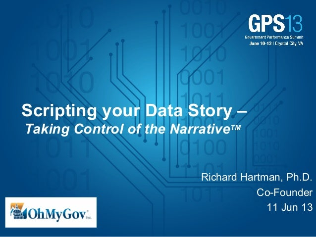 Scripting your Data Story –Taking Control of the NarrativeTMRichard Hartman, Ph.D.Co-Founder11 Jun 13