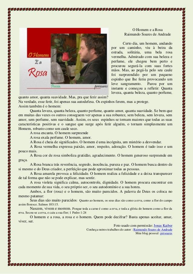 O Homem e a Rosa Raimundo Soares de Andrade Certo dia, um homem, andando por um caminho, viu à beira da estrada, solitária...