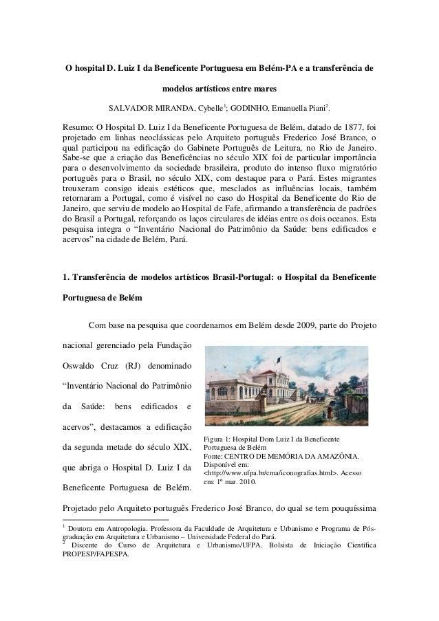 Figura 1: Hospital Dom Luiz I da Beneficente Portuguesa de Belém Fonte: CENTRO DE MEMÓRIA DA AMAZÔNIA. Disponível em: <htt...