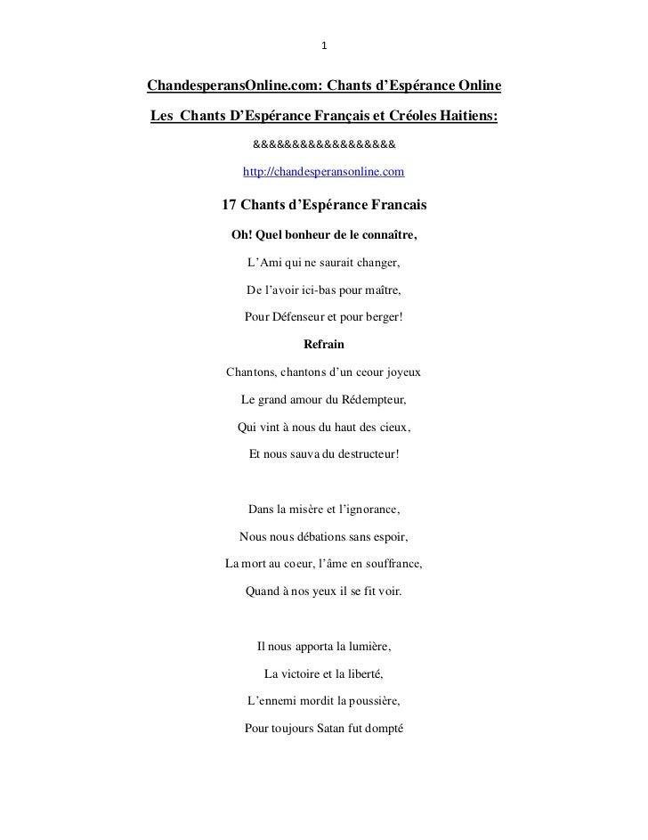 1ChandesperansOnline.com: Chants d'Espérance OnlineLes Chants D'Espérance Français et Créoles Haitiens:                &&&...