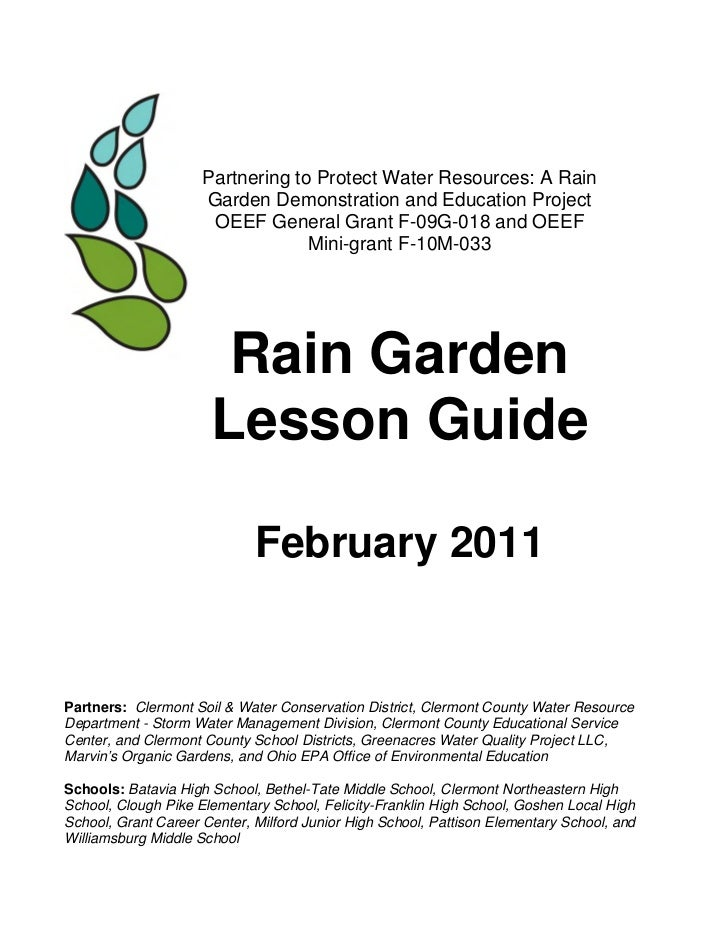 Partnering to Protect Water Resources: A Rain                     Garden Demonstration and Education Project              ...