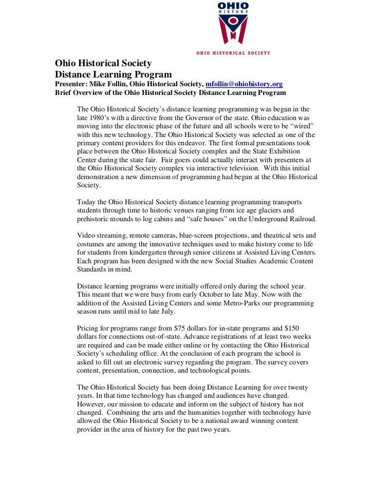 Ohio Historical Society Distance Learning Program Presenter: Mike Follin, Ohio Historical Society, mfollin@ohiohistory.org...
