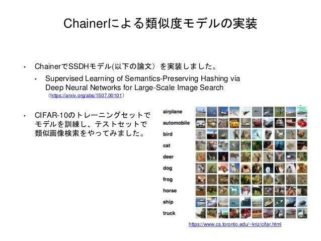 Chainerによる類似度モデルの実装 • ChainerでSSDHモデル(以下の論文)を実装しました。 • Supervised Learning of Semantics-Preserving Hashing via Deep Neural...