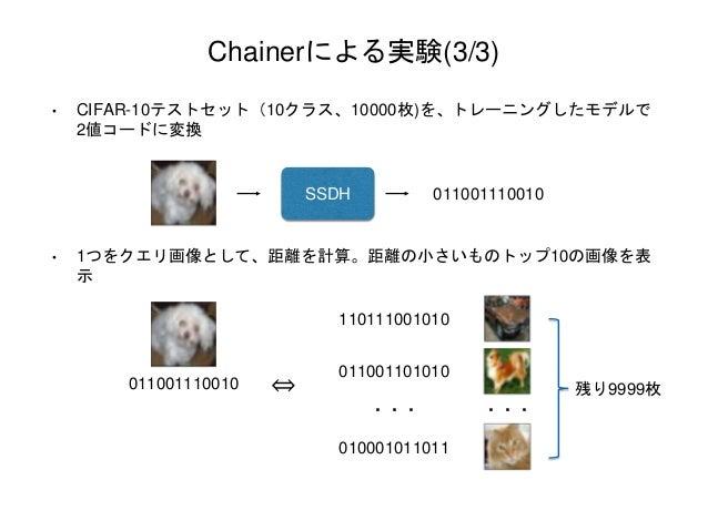 Chainerによる実験(3/3) • CIFAR-10テストセット(10クラス、10000枚)を、トレーニングしたモデルで 2値コードに変換 • 1つをクエリ画像として、距離を計算。距離の小さいものトップ10の画像を表 示 011001110...