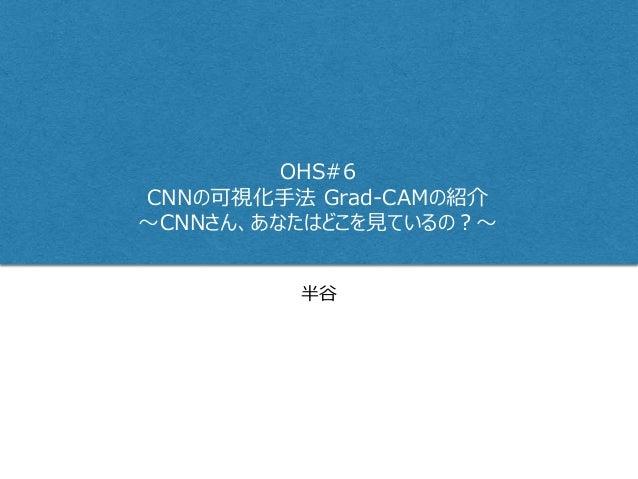 半谷 OHS#6 CNNの可視化手法 Grad-CAMの紹介 ~CNNさん、あなたはどこを見ているの?~