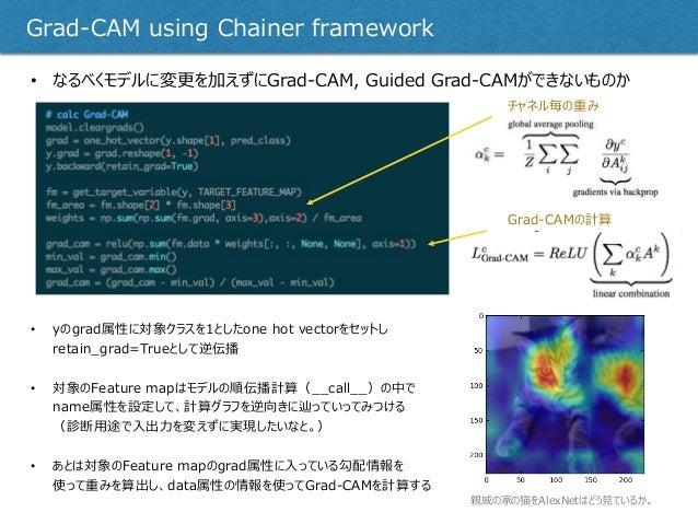• なるべくモデルに変更を加えずにGrad-CAM, Guided Grad-CAMができないものか Grad-CAM using Chainer framework • yのgrad属性に対象クラスを1としたone hot vectorをセッ...