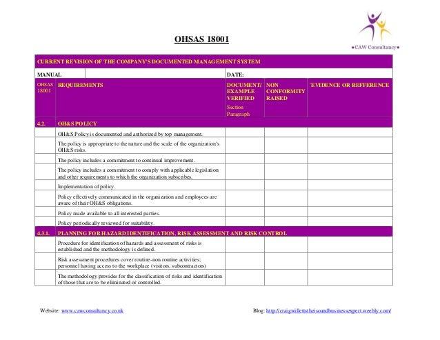 ohsas 18001 checklist rh slideshare net ISO 18001 Standard PDF OHSAS 18001 2007 Standard