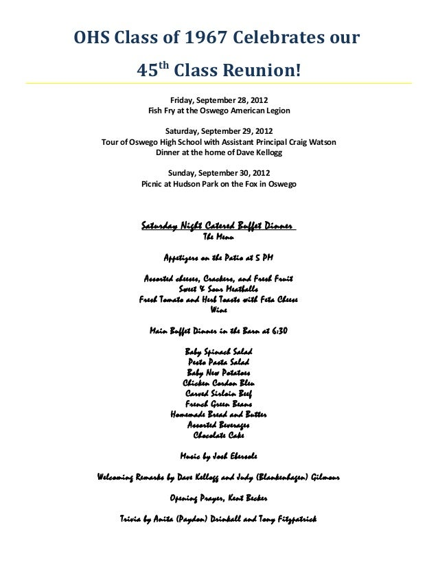 OHS Class of 1967 Celebrates our            45th Class Reunion!                      Friday, September 28, 2012           ...