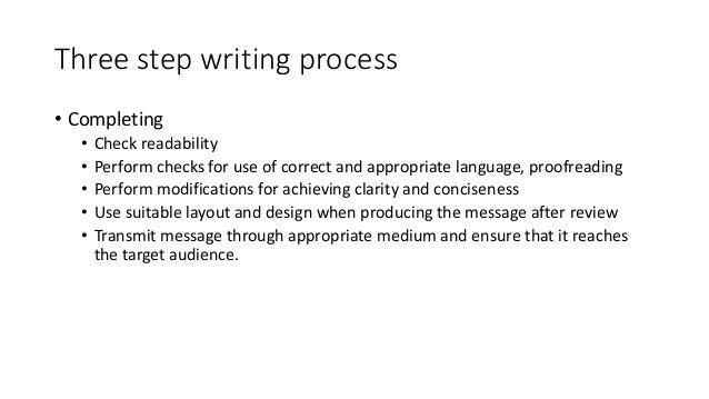 three step writing process · this is known as the three-step writing process this process will help your message to have a clear purpose, communicate effectively, and meet the.