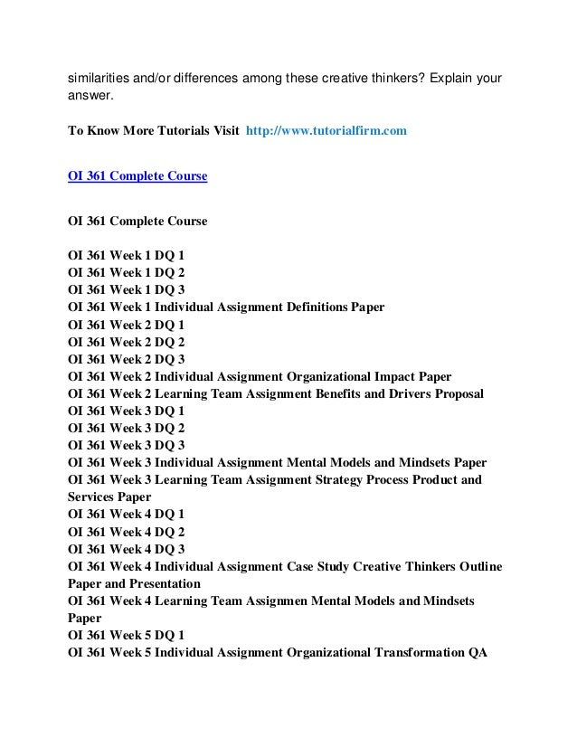 oi 361 creative thinker Tutorialrank is a online tutorial store we provide oi 361 week 4 individual assignment case study creative thinkers uop course.