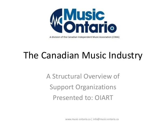 The Canadian Music Industry A Structural Overview of Support Organizations Presented to: OIART www.music-ontario.ca   info...