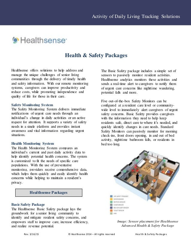 Rev. 3/16/15 © Healthsense 2014 – All rights reserved Health & Safety Packages Healthsense offers solutions to help addres...