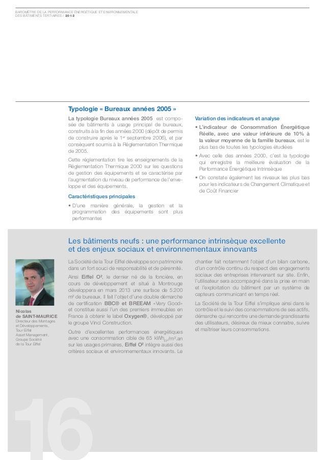 Baromètre de la Performance ÉnergÉtique et environnementaledes Bâtiments tertiaires / 2012                         typolog...