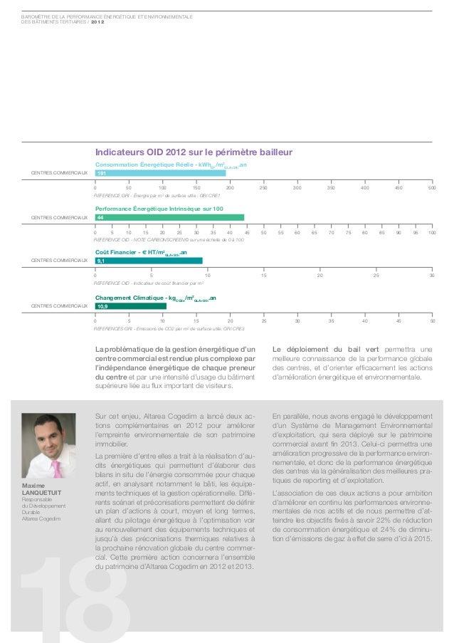 Baromètre de la Performance ÉnergÉtique et environnementaledes Bâtiments tertiaires / 2012                         Indicat...