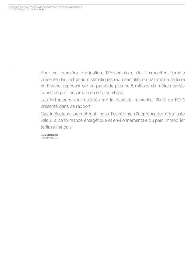 Baromètre de la Performance ÉnergÉtique et environnementaledes Bâtiments tertiaires / 2012                         Pour sa...
