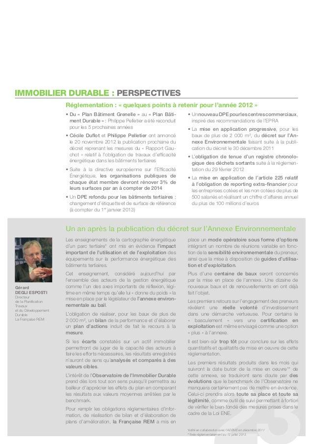 IMMOBILIER DURABLE : PERSPECTIVES                      réglementation : « quelques points à retenir pour l'année 2012 »   ...