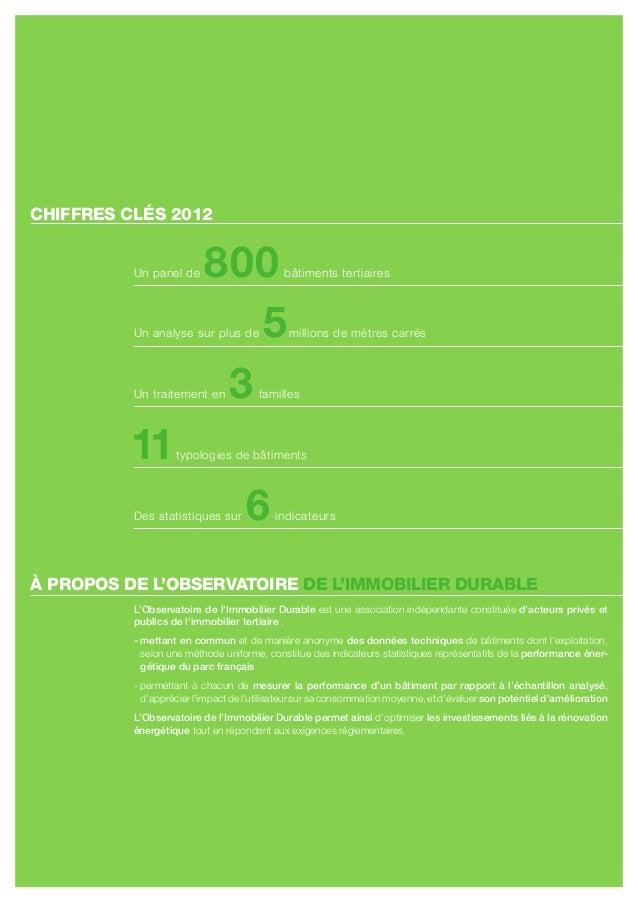 CHIFFRES CLÉS 2012          un panel de     800               bâtiments tertiaires                             5          ...
