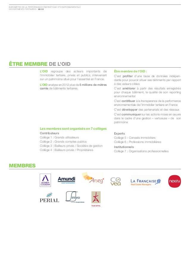Baromètre de la Performance ÉnergÉtique et environnementaledes Bâtiments tertiaires / 2012êTRE MEMBRE DE L'OID            ...