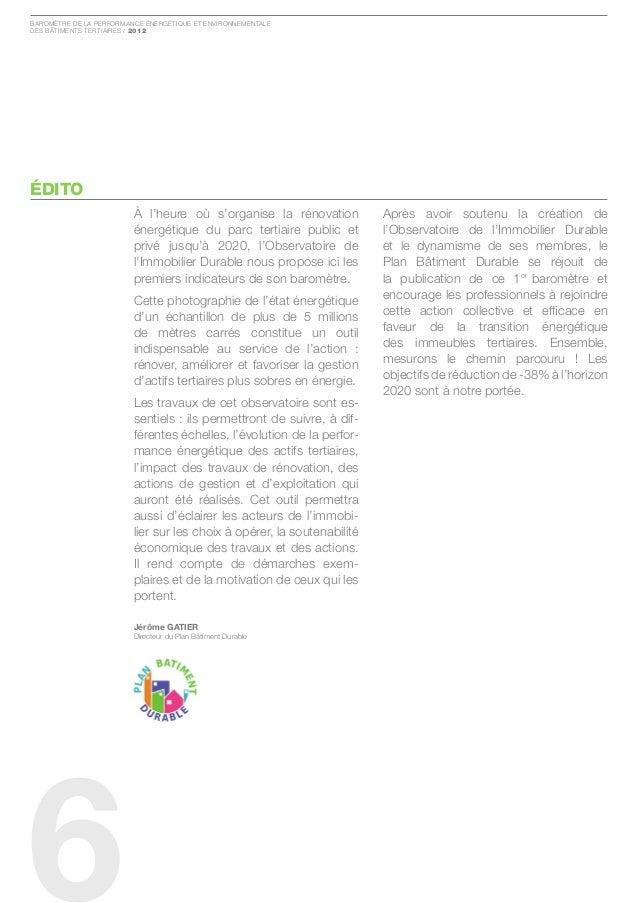 Baromètre de la Performance ÉnergÉtique et environnementaledes Bâtiments tertiaires / 2012ÉDITO                         À ...