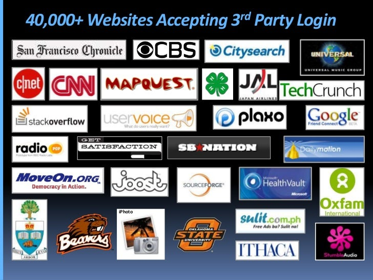 40,000+ Websites Accepting 3rd Party Login                 iPhoto