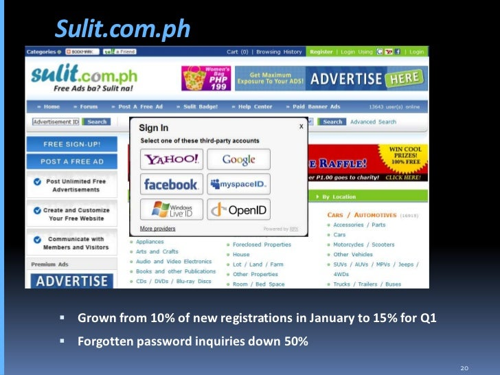 Sulit.com.ph      Grown from 10% of new registrations in January to 15% for Q1  Forgotten password inquiries down 50%   ...
