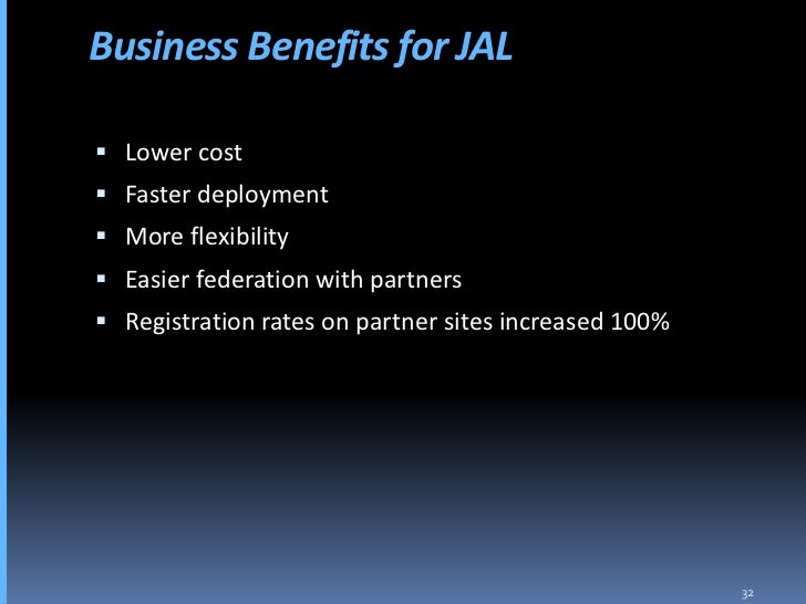 Business Benefits for JAL   Lower cost  Faster deployment  More flexibility  Easier federation with partners  Registr...