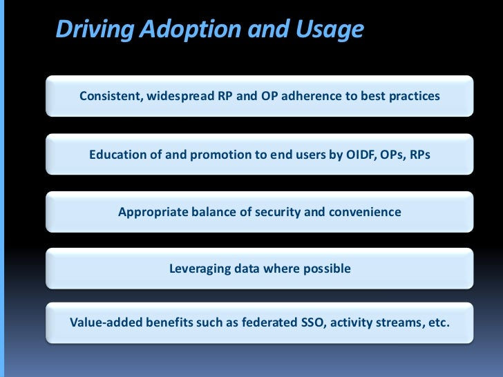 Driving Adoption and Usage    Consistent, widespread RP and OP adherence to best practices        Education of and promoti...