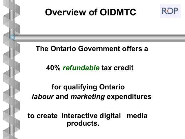Ontario Interactive Digital Media Tax Credit    Slide 2