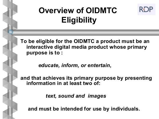 Ontario Interactive Digital Media Tax Credit    Slide 3