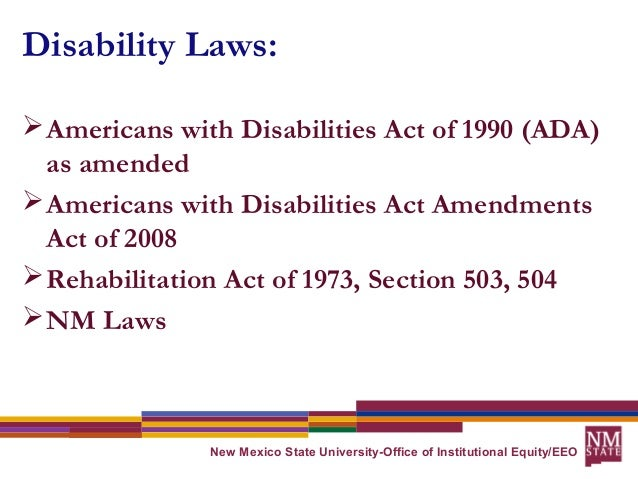 the objectives of the rehabilitation act and the americans with disabilities act 1973 The ada home page provides access to americans with disabilities act  individual under the rehabilitation act of 1973,  to carry out the objectives of.