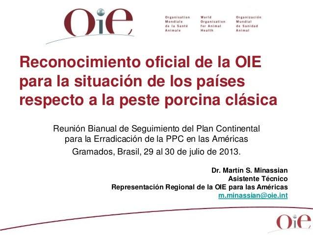 Dr. Martín S. Minassian Asistente Técnico Representación Regional de la OIE para las Américas m.minassian@oie.int Reconoci...