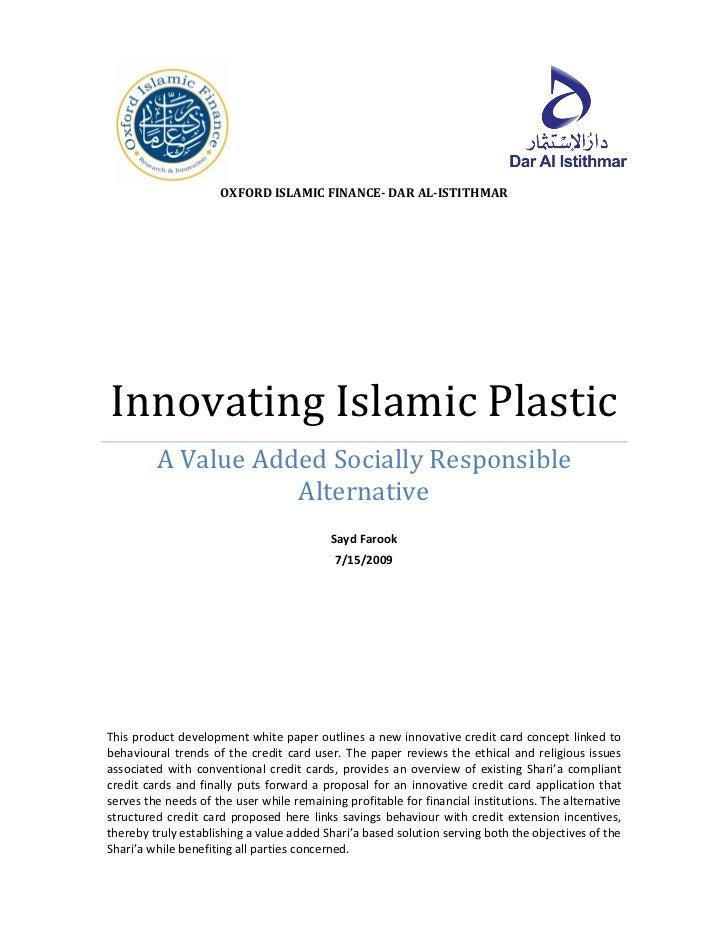 OXFORD ISLAMIC FINANCE- DAR AL-ISTITHMARInnovating Islamic Plastic         A Value Added Socially Responsible             ...