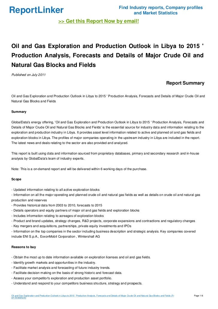 Oil and Gas Exploration and Production Outlook in Libya to