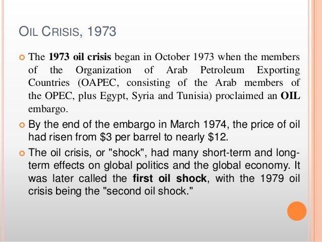 the economic implications of the world oil crisis For the last 75 years, almost every economic crisis has been preceded by an oil price spike the worry now is that low energy prices are pushing the global.
