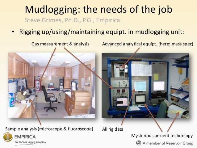 Mudlogging: the needs of the job • Rigging up/using/maintaining equipt. in mudlogging unit: Steve Grimes, Ph.D., P.G., Emp...