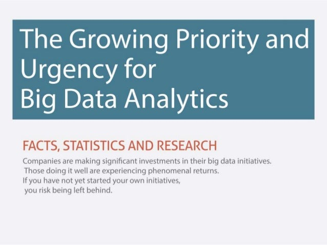 The Growing Priority and  Urgency for Big Data Analytics     Companies are making significant investments in their big data...