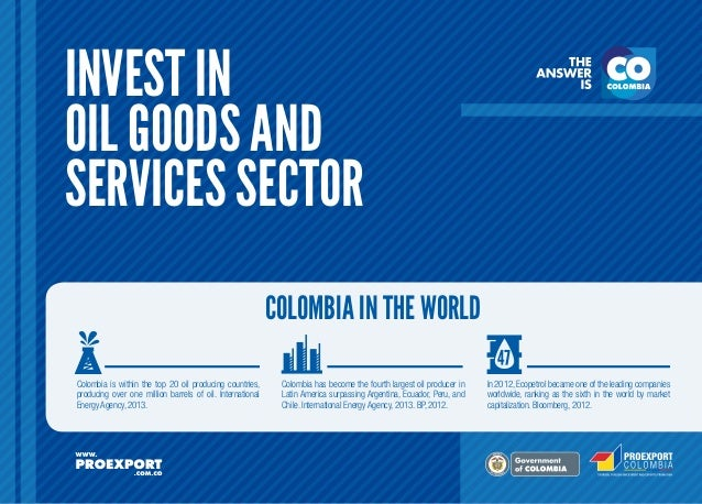 INVEST IN OIL GOODS AND SERVICES SECTOR COLOMBIA IN THE WORLD Colombia is within the top 20 oil producing countries, produ...