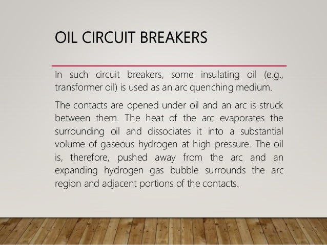 Oil Circuit Breaker Classification Of Circuit Breakers