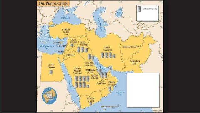 Oil Distribution In Southwest Asia Middle East